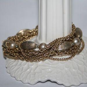 "Stunning vintage gold layered bracelet 7.5"""